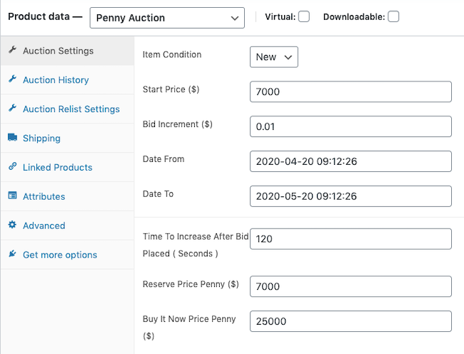 WooCommerce Penny Auction Product